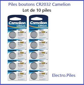 Lot de 10 Piles Cells boutons CR2032 3V lithium de marque Camelion