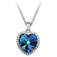 Océano Corazón Colgante Collar Mujer Cristal Rhinestone Joyas Accesorios Regalo