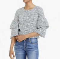 J. Crew Mercantile Style J6509 Calico Printed Tiered Bell Sleeve Top Women's 4