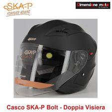 Casco JET Doppia Visiera a Scomparsa SKA-P BOLT Nero Gommato Taglia M 57/58 cm