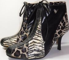 Saint Francis Couture, Animal Print Ankle Bootie, Faux Leather, Women's Size 6