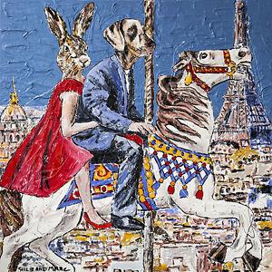 GILLIE AND MARC   Giclée Print   Pop Art   Rabbit Woman & Dog Man in Paris