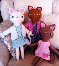 PATTERN - Three Pretty Kitties - cute cloth doll cats PATTERN