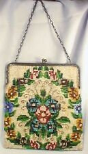 Art Deco Beaded Purse Evening Bag Flowers A Few Beads Missing A Beauty