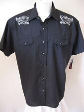 Rockabilly Western Shirt S Rock Steady Black Embroidered Skulls Rebel Tattoo $60