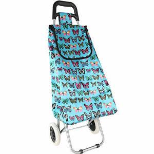 2 Wheel Shopping Trolley 47L Durable Pull waterproof Bag Butterfly Print