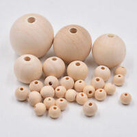 50x Round Wood Spacer Bead Natural Unpainted Wooden Ball Beads DIY Craft Jewelry