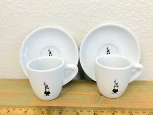 Bialetti Porcellana 2 Espresso Cups and Saucers Set Black and White