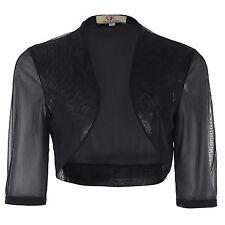Women's Half Sleeve Cropped Short Chiffon Bolero Shrug Tops Jacket Cardigan Lady