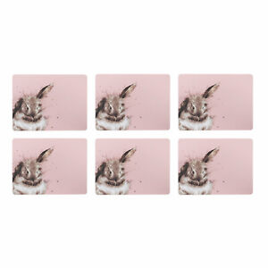 Wrendale Set of 6 Pink Rabbit Placemats