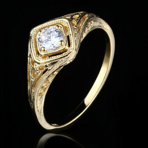 Vintage Style Jewelry 14K Yellow Gold Genuine Cubic Zirconia Engagement Ring#6.5