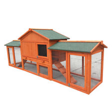 New 228cm Rabbit Guinea Pig Hutch Wood Cage Chicken Ferret Coop With Double Run