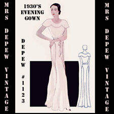 Vintage Sewing Pattern 1930s Evening Wedding Gown Any Size- PLUS Included #1123