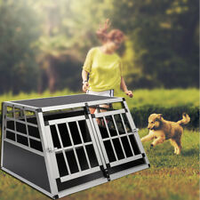 Double Doors Dog Crate Large Aluminium Transport Carrier Travel Cage Box Durable