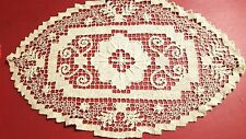 "Antique handmade Italian knot work embroidered oval scarf doily 10 x 15 1/2"" vtg"