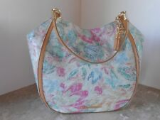 New BRAHMIN Marianna CREME TALITHA Leather Floral Shoulder Tote $355