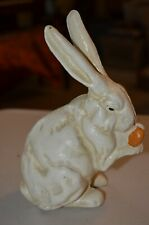 White Rabbit Carrot Cast Iron Screw Bank Figure Statue Decor Doorstop 3LB VTG