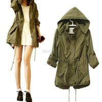 Vintage Women's Skull Back Military Parka Trench Hooded Jacket Coat Army Green