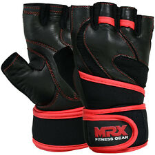 Weight Lifting Gloves Leather Workout Gym Exercise Training Wrist Strap Unisex
