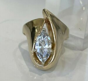 Heavy 14k solid gold & Marquise White stone ring 10.15g size O - 7