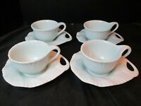 Shell Shaped 4 Pieced Handled Saucer & Cups Mod Design Swirls Green Or Blue