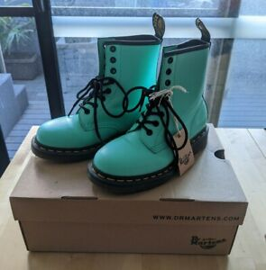 DR MARTENS 1460 8 eye boots in peppermint Size 36 UK3 like new tiffany blue