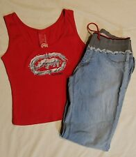 LOT Sexy Woman junior Rocawear DENIM JEANS 9 AND tank TOP L