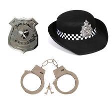 3PC WPC Set Costume Polizia Cappello Manette /& Badge Gli adulti Signora