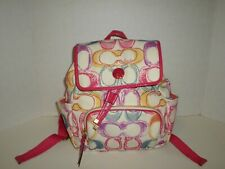 Coach Poppy Signature Scribble Print Multi Color Backpack No F21962 Very Nice