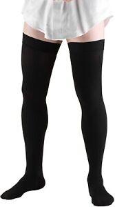 Truform Leg Health Men's Dress Socks 20-30mm Thigh High, Black X-LARGE