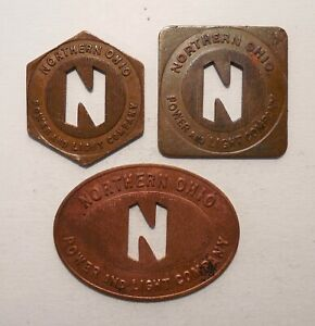 Lot of 3 - Northern Ohio - Power & Light Company - Akron, OH - Transit Tokens