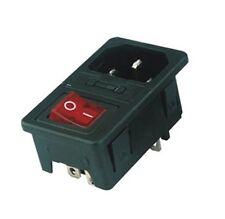 Kaltgeräte Einbaustecker Sicherung Schalter IEC 320 C14 Male Plug Switch Fuse