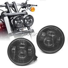 "4.65"" LED Motorcycle Black Headlight Lights For Harley Fat Bob FXDF 2008-2015"