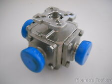 "New Kase 1"" Stainless Tri-Clamp 3-Way Ball Valve, T Port, Full Flow, 335N-1T"