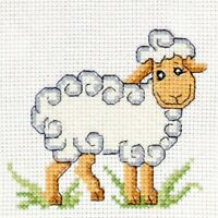 """Counted Cross Stitch Kit For Beginners Sheep Easy Embroidery Kit DIY """"Lamb"""""""