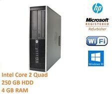 Fast HP Desktop Tower Intel Core 2 Quad 250Gb 4 GB Ram Windows 10 Home