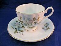 VINTAGE HAMILTON TEA CUP AND SAUCER - ENGLAND FINE BONE CHINA - WHITE ROSE