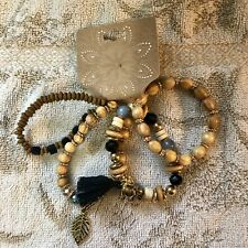 Beads With Charms And Tassel Set Of Four Bracelets-Glass And Wood