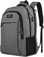 "Matein Men's Gray 17"" Anti-Theft Travel Laptop Backpack School Bag USB Charging"