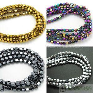 """Natural Hematite Gemstone Faceted Bicone Lantern Beads Metallic Silver Gold 16"""""""
