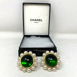 Authentic Vintage Chanel Pearl And Emerald Glass Ear Rings