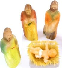 Nativity Lot of 4 Pieces JESUS & 3 Men Wisemen Joseph Vintage Plastic Blow Molds