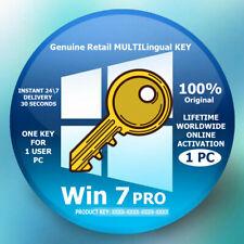 Original Genuine Key WIN 7 PRO Multilingual Lifetime Online Activation 30 Sec.
