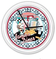 Retro Diner Kitchen PERSONALIZED Wall Clock 50's Decor Juke Checker