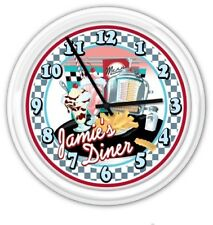 Retro Diner Kitchen PERSONALIZED SILENT Wall Clock 50's Decor Juke Checker