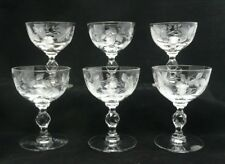 Set of 6 Faceted Ball Stem Currant Berry Etched Liquor Cocktail Stemware Glasses