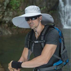 16cm Long Wide Brim Sun Hat Breathable Safari Summer UV Protection Hiking Cap