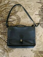 VTG 70's COACH Large Black Leather briefcase documents Laptop Bag - MADE in NYC