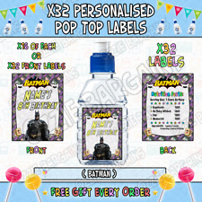 Personalised Pop Top Sticker Labels - Batman - x32 Large Labels