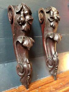 Antique Victorian Pair Decorative Hand Carved Corbel Bracket,Old Church Salvage